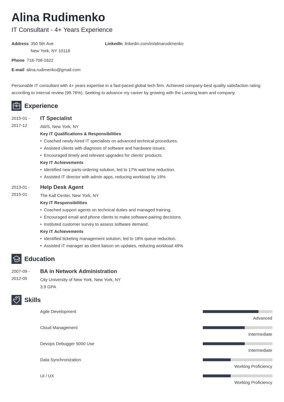 it resume example template newcast