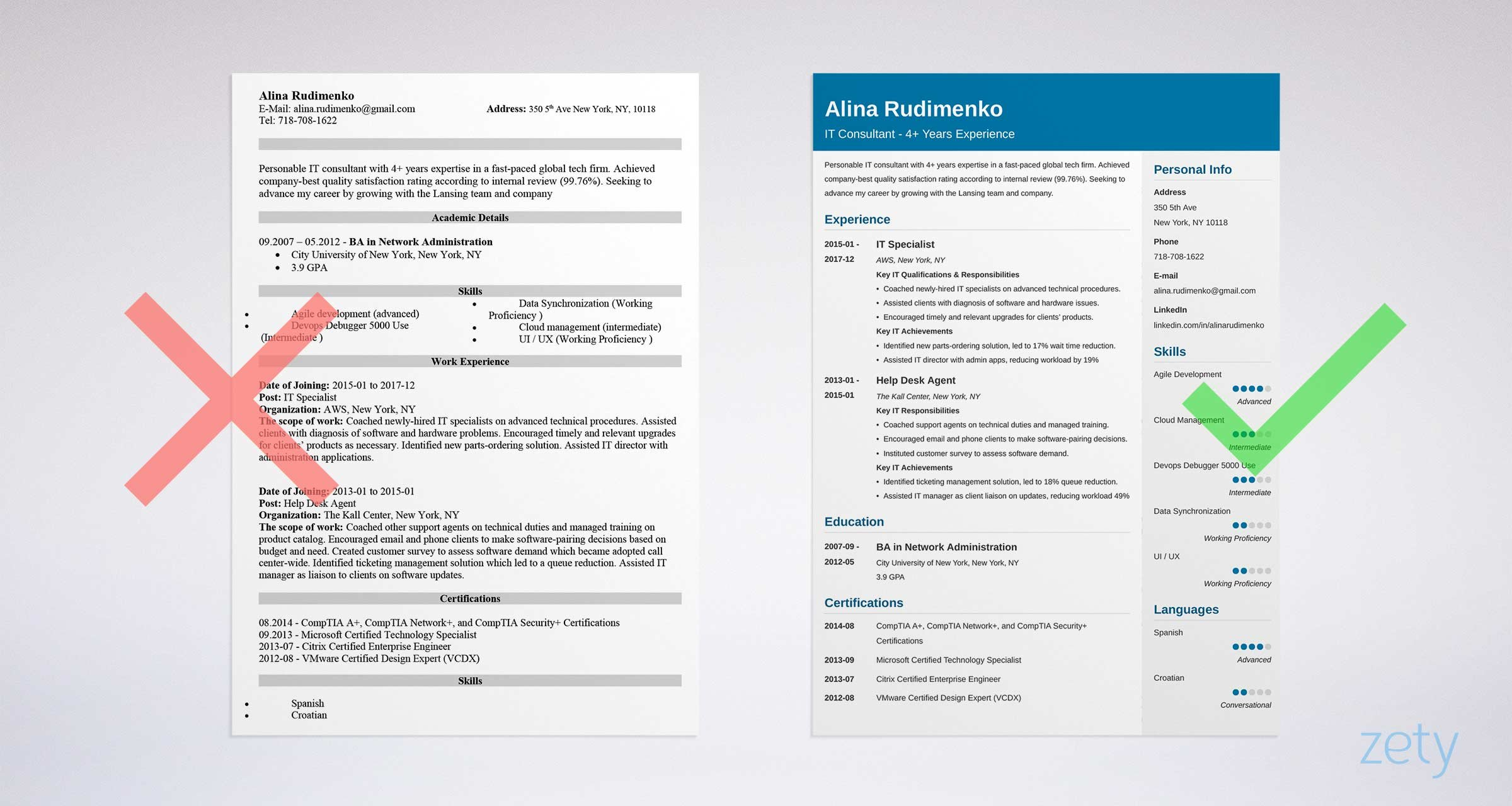 professional it resume sample