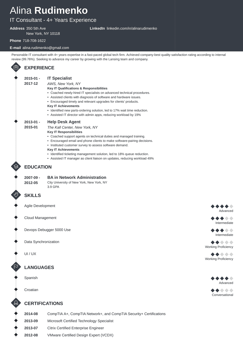 It Resume Sample Complete Writing Guide 20 Examples Tips