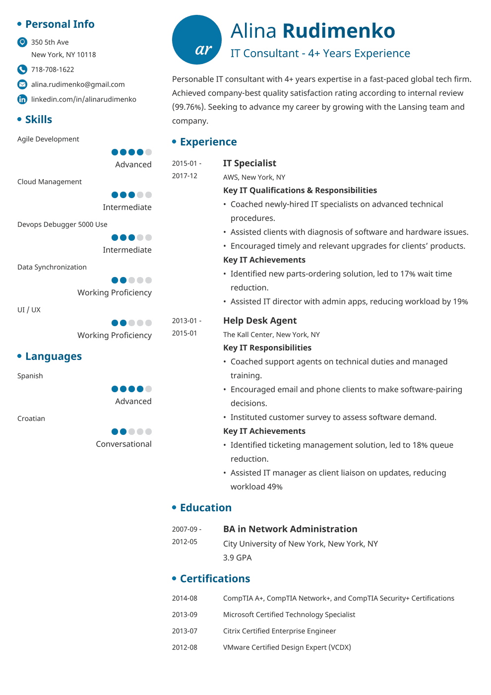 It Resume Template | It Resume Sample Complete Writing Guide 20 Examples Tips