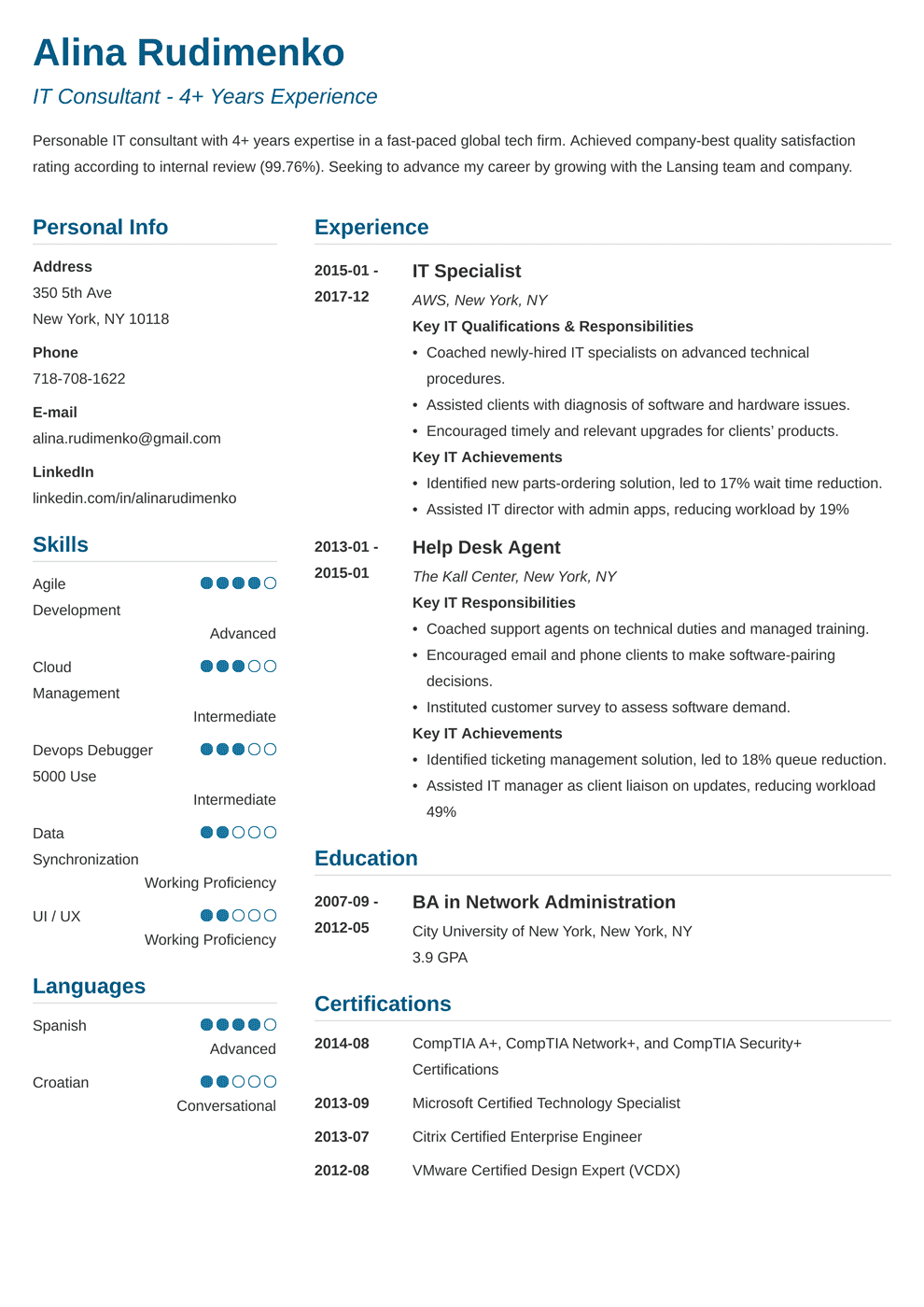 Information Technology (IT) Resume Examples for 2019