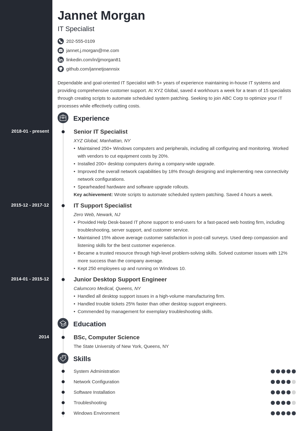 it specialist resume example template concept