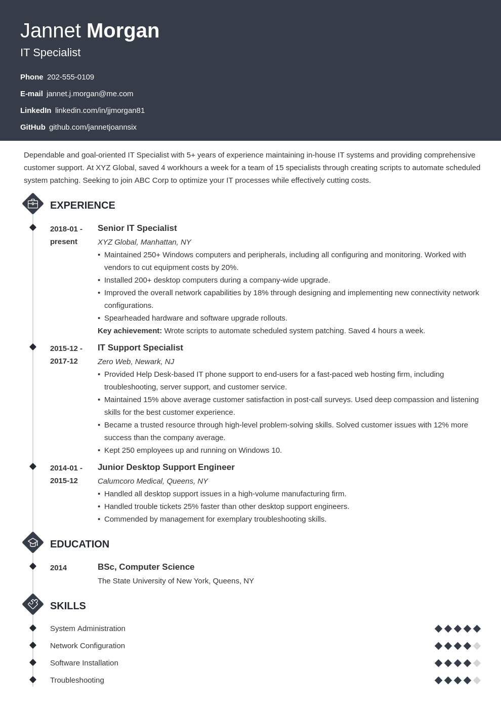 it specialist resume example template diamond