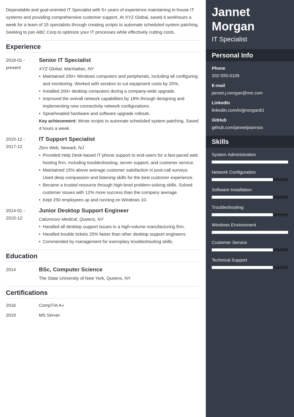 it specialist resume example template enfold