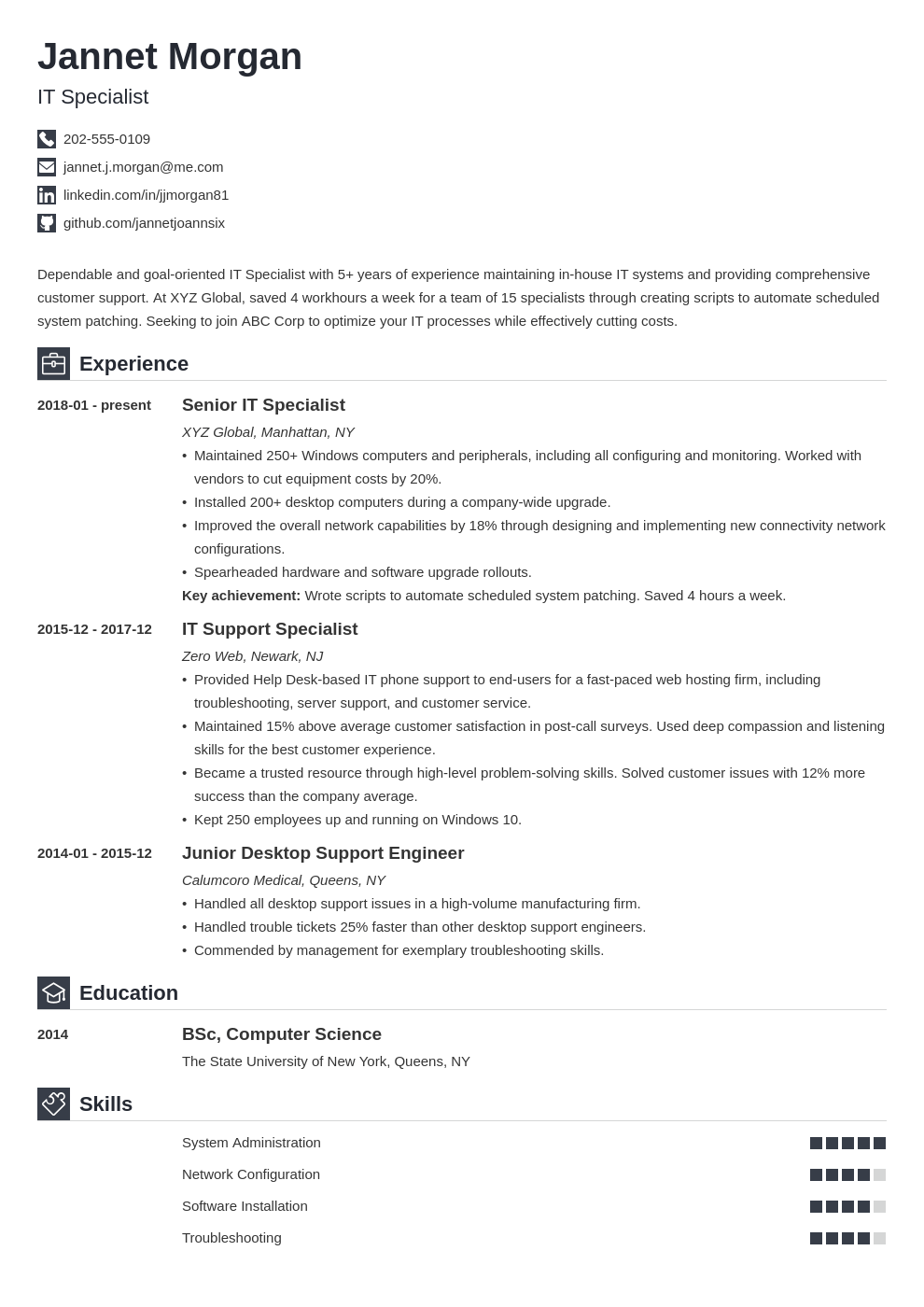 it specialist resume example template iconic
