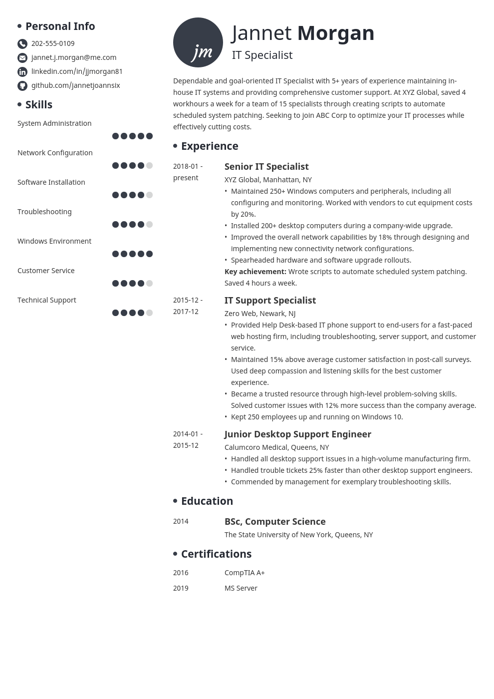 it specialist resume example template initials