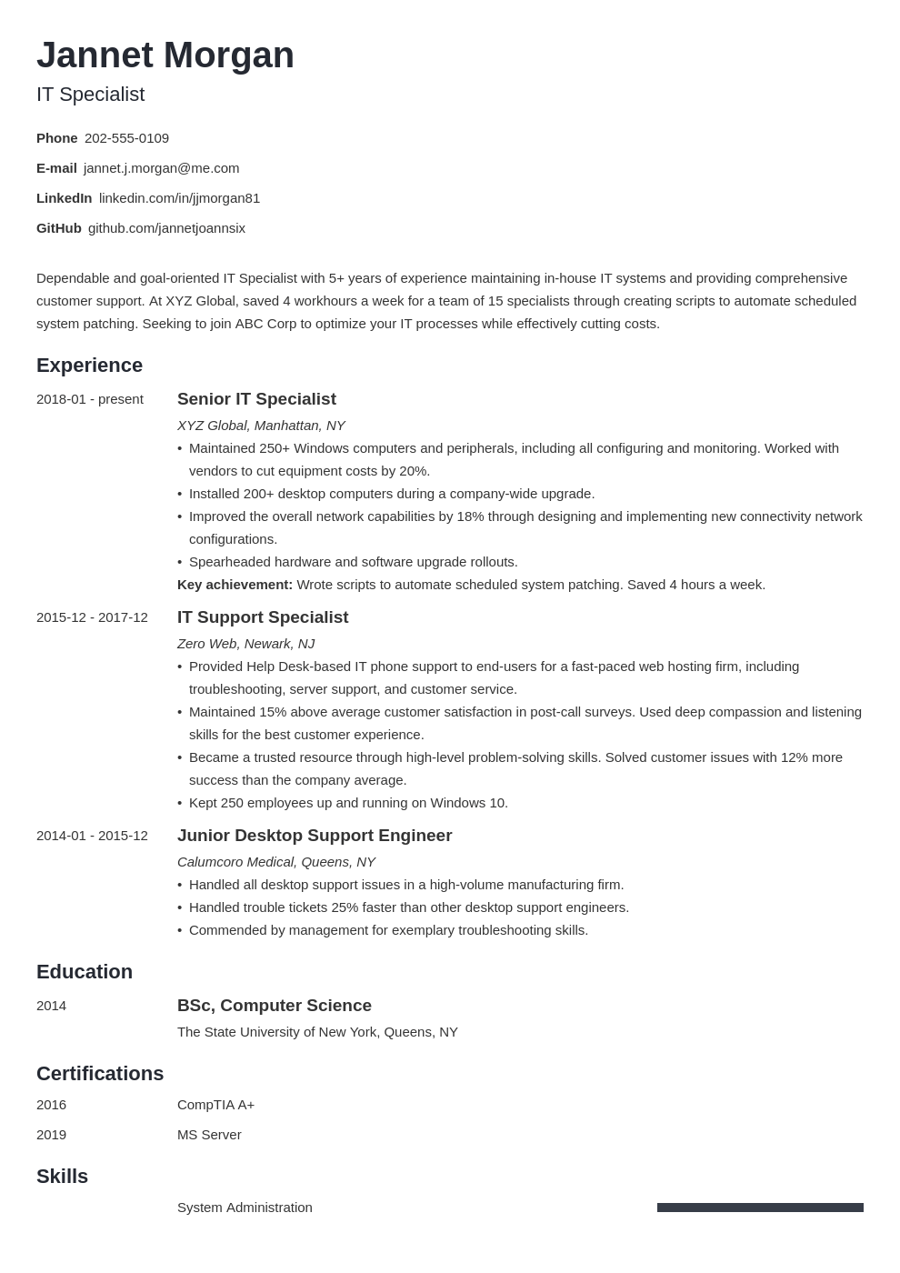it specialist resume example template minimo
