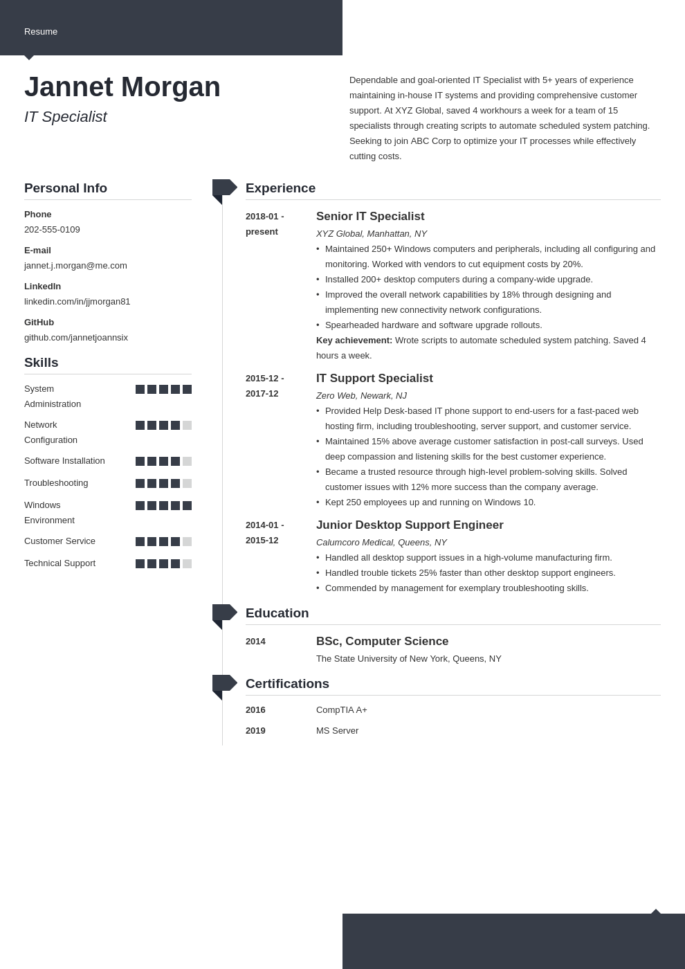 it specialist resume example template modern