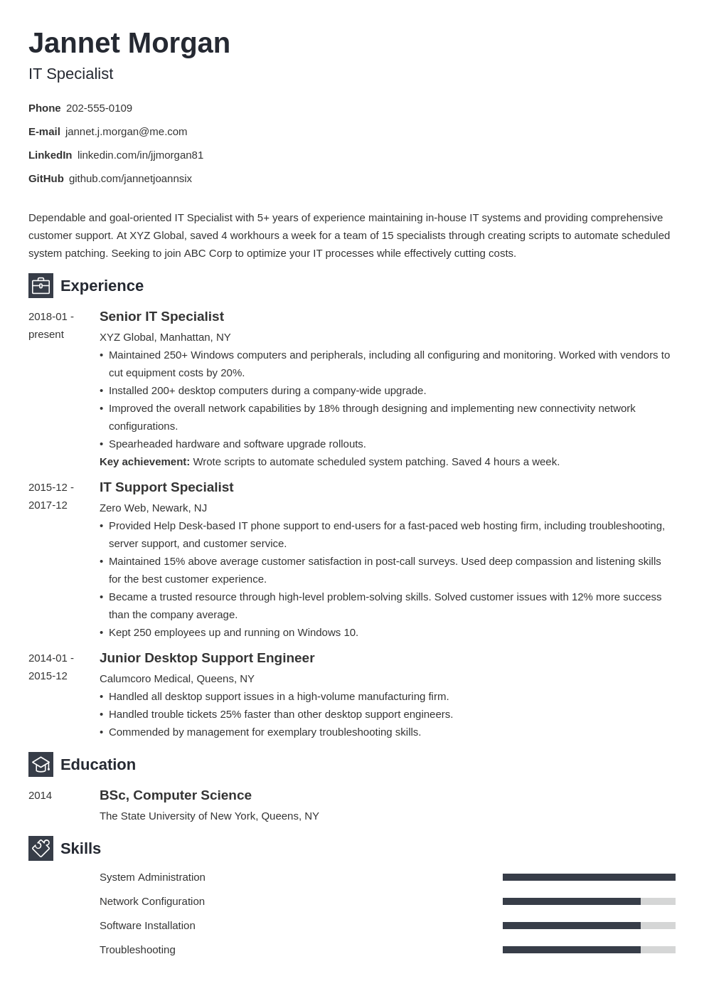 it specialist resume example template newcast