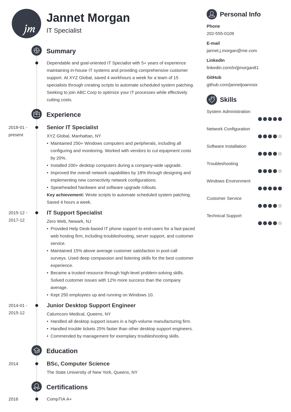 it specialist resume example template primo