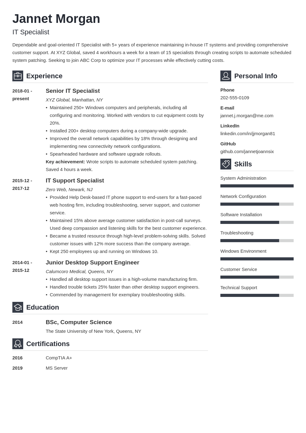 it specialist resume example template vibes