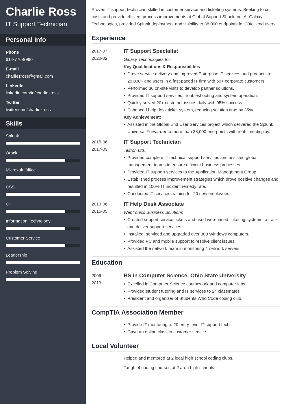 it support resume example template cascade