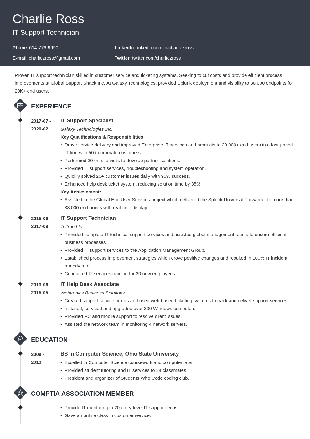 it support resume example template diamond
