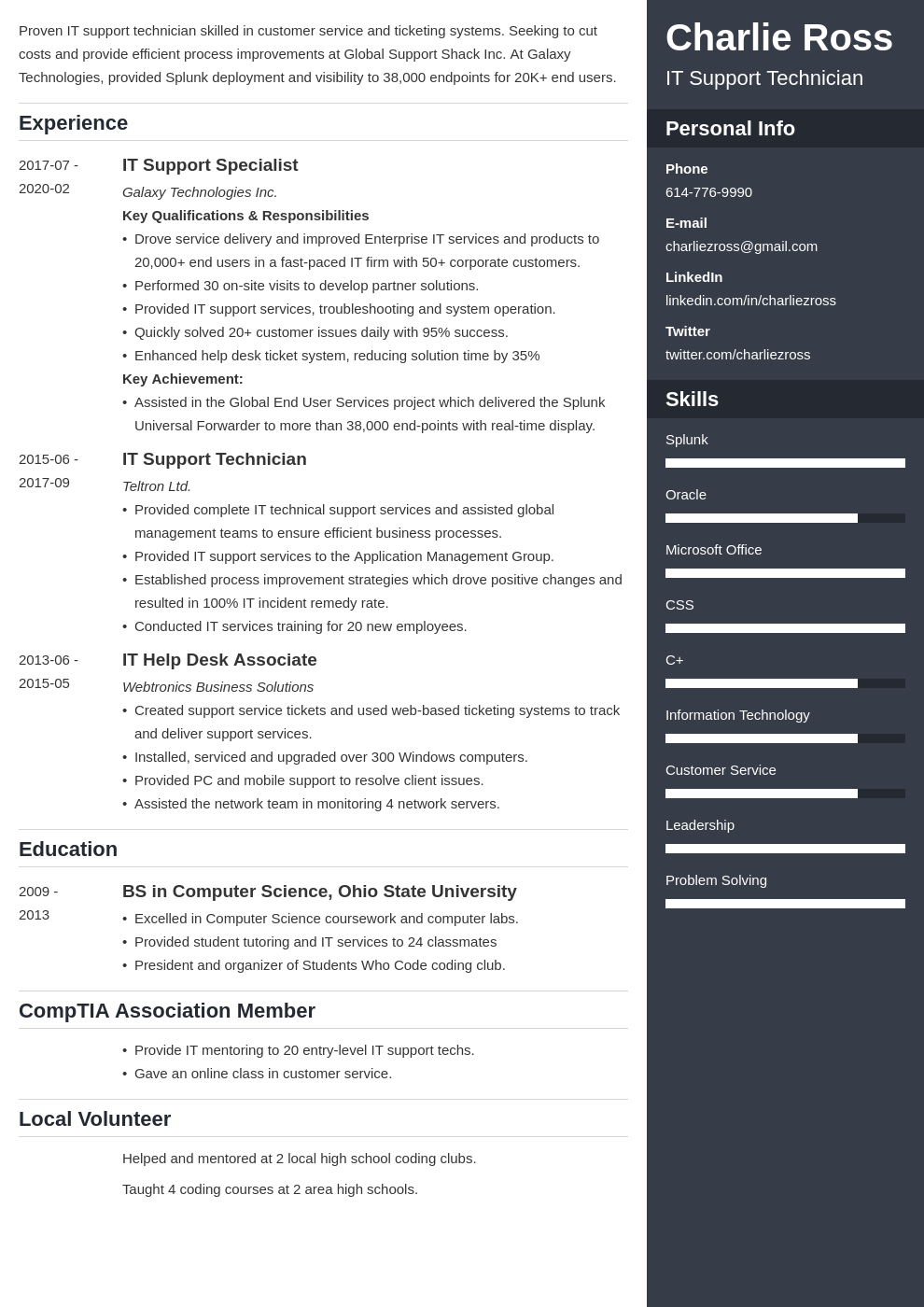 it support resume example template enfold