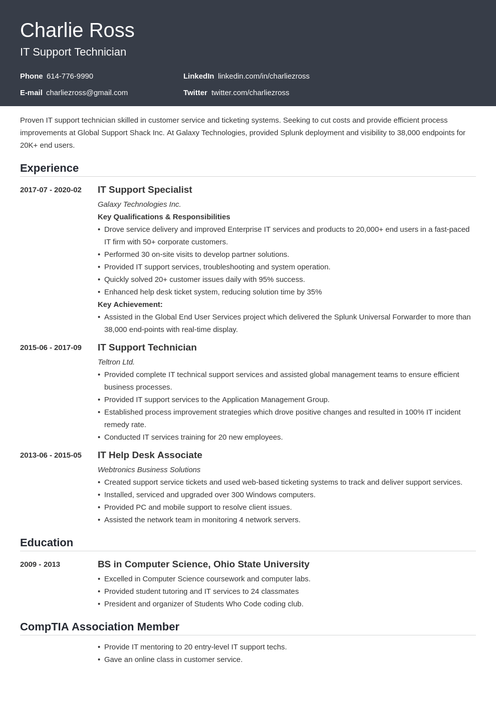 it support resume example template influx