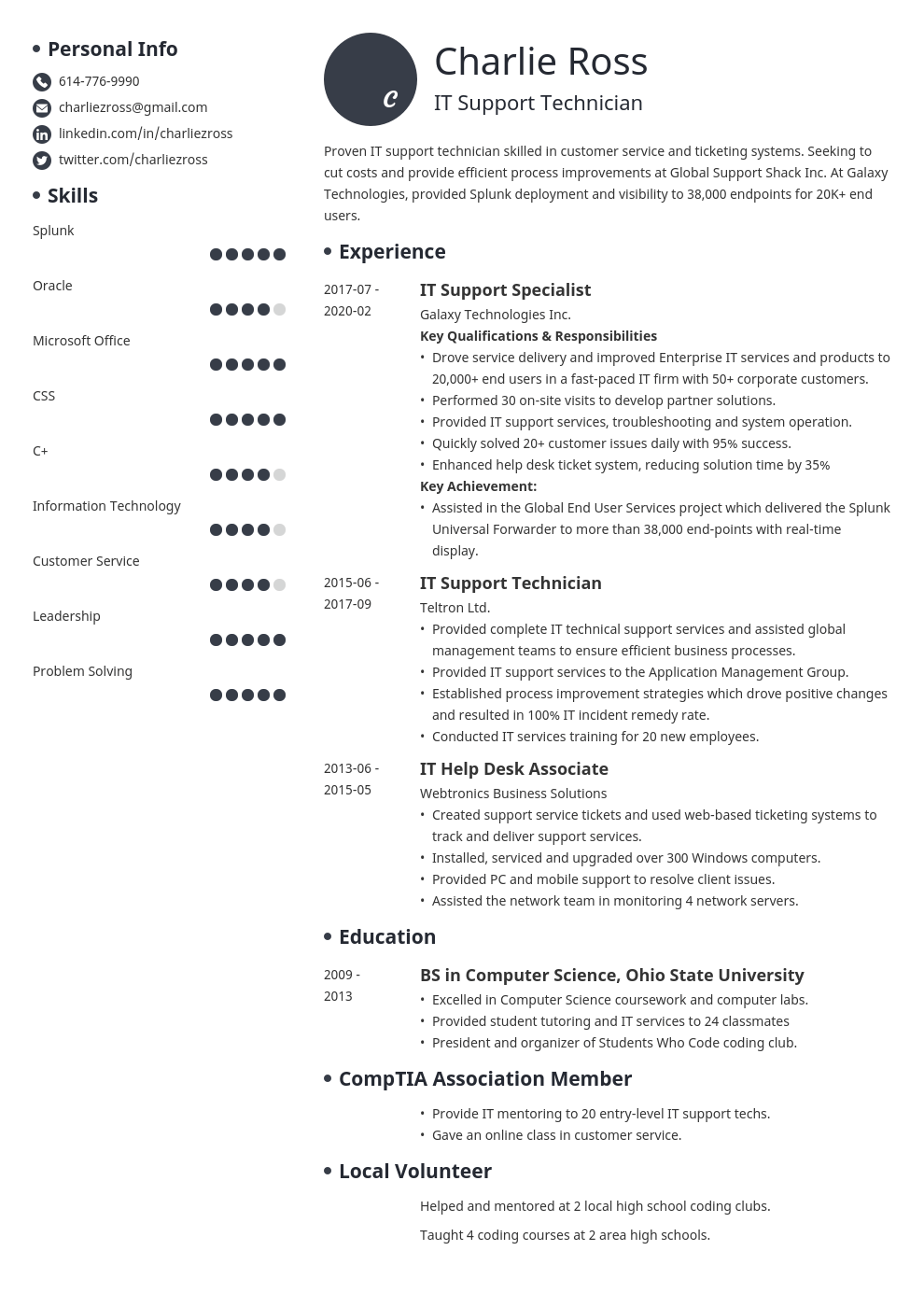 it support resume example template initials