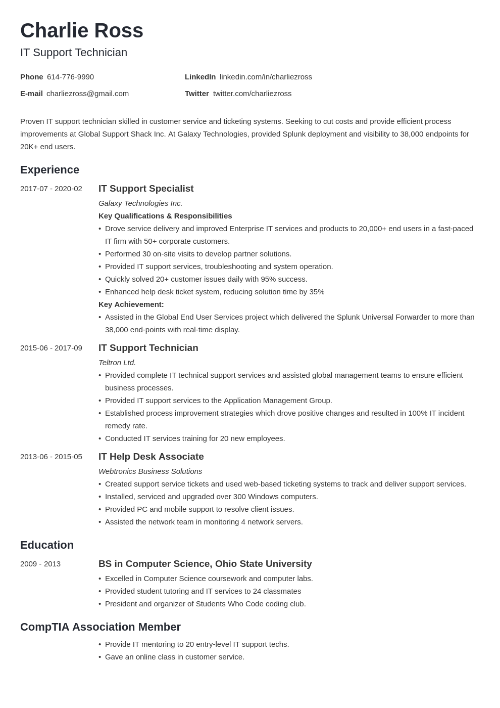 it support resume example template minimo