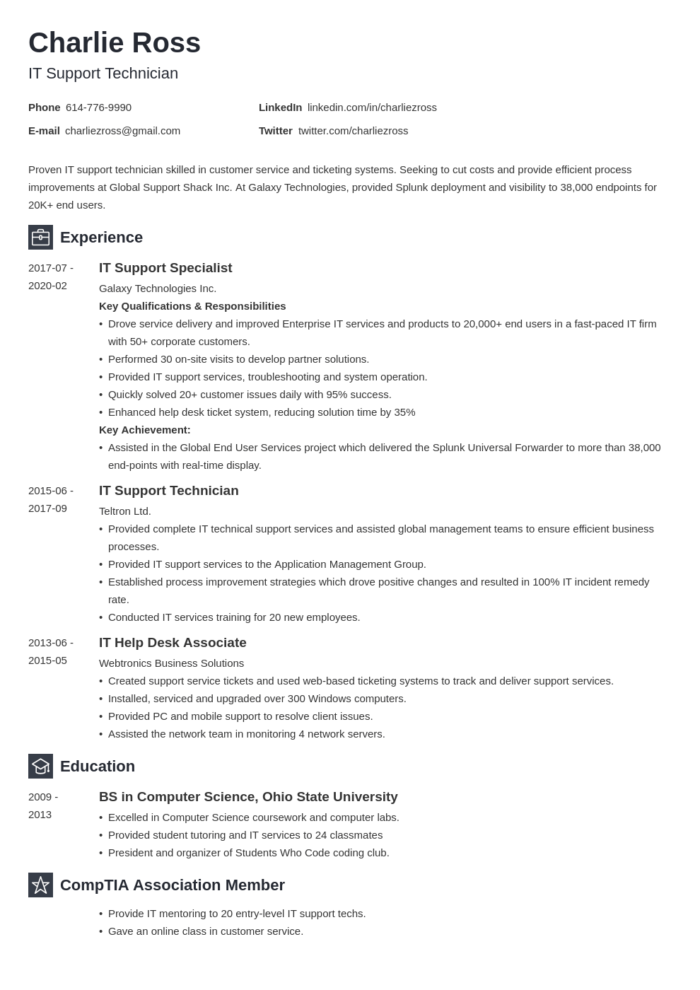 it support resume example template newcast