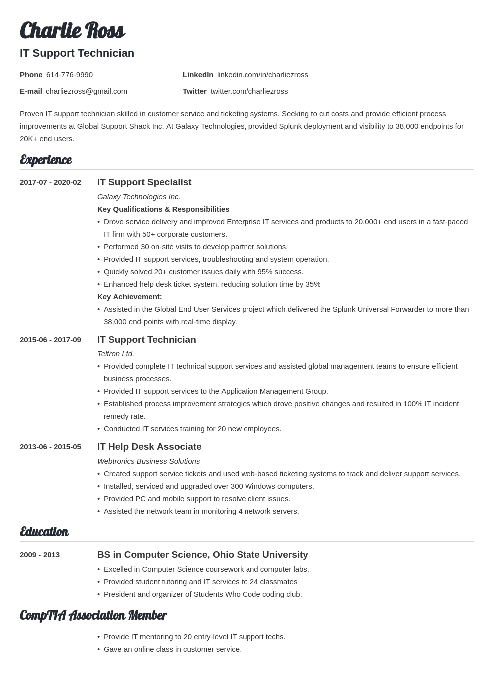 it support resume example template valera