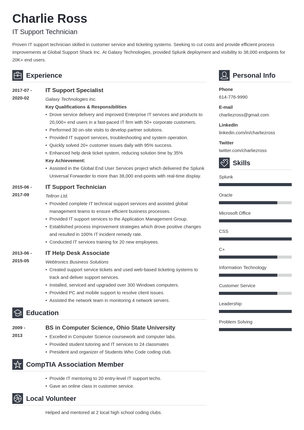 it support resume example template vibes