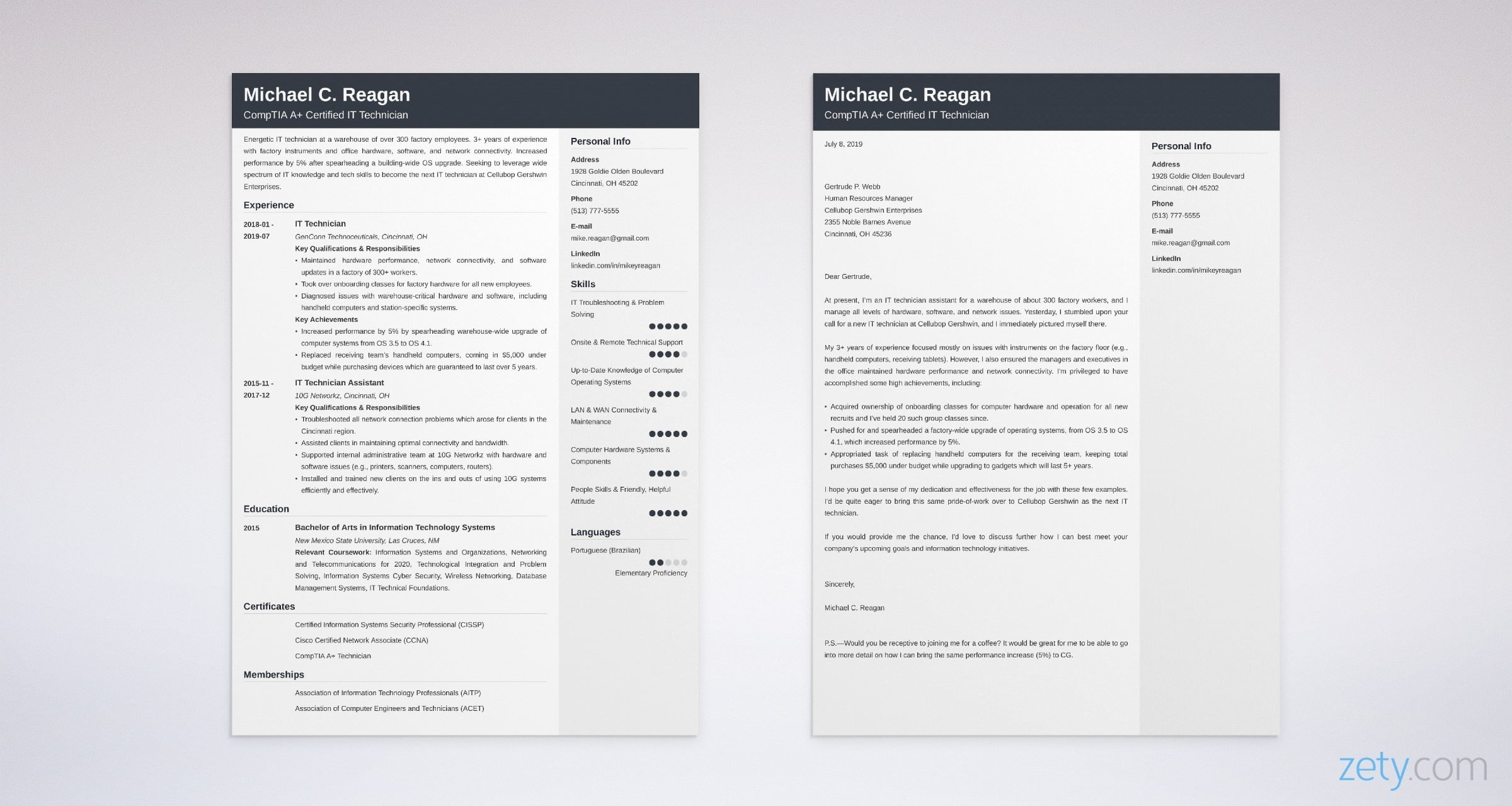 it technician resume and cover letter set