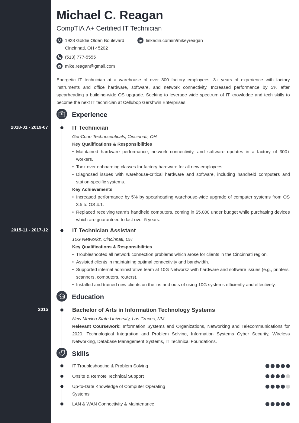 it technician resume example template concept