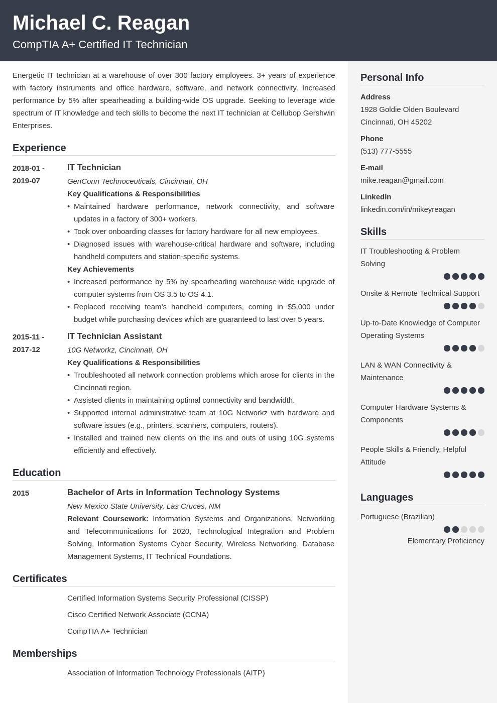 it technician resume example template cubic