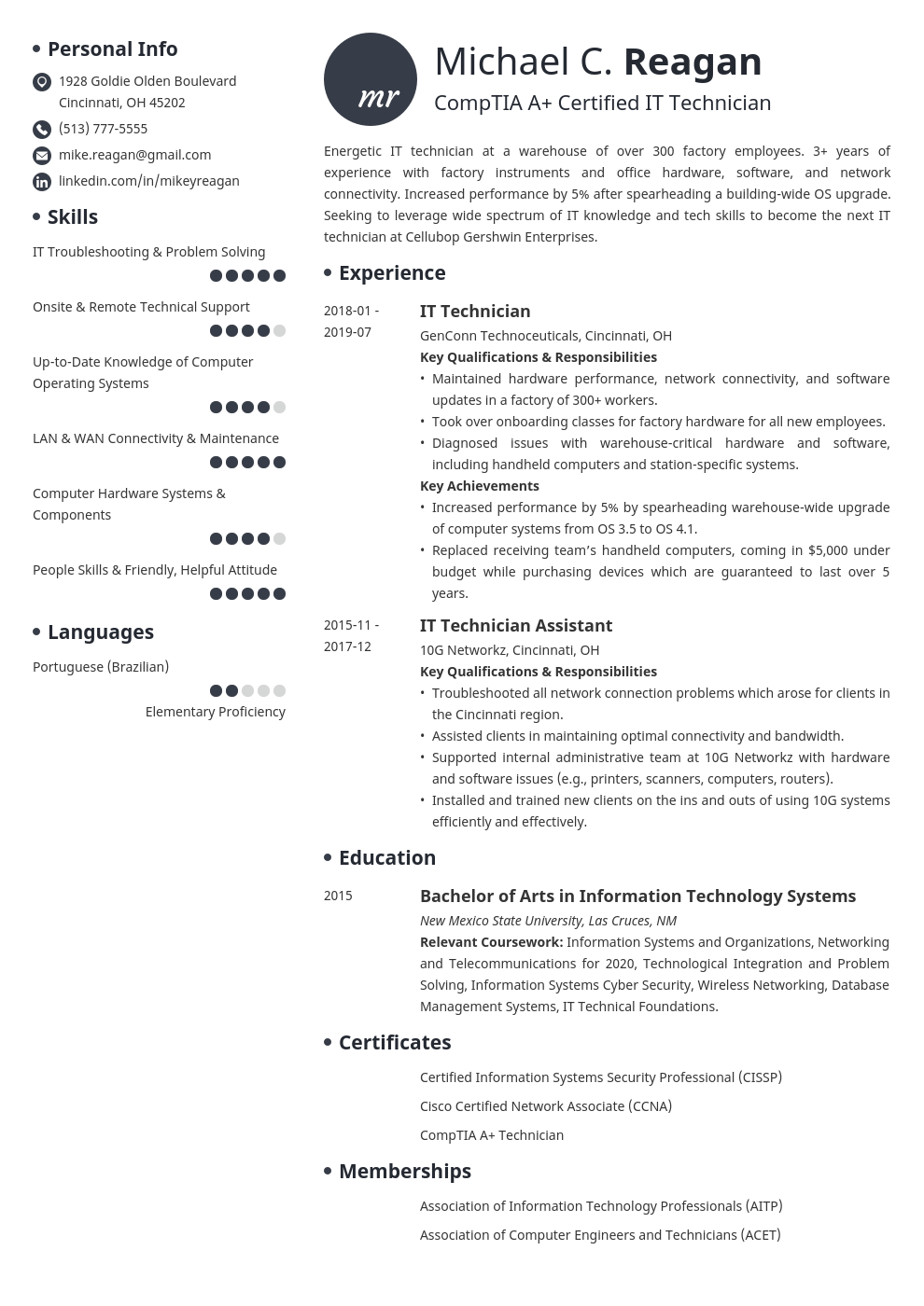 it technician resume example template initials