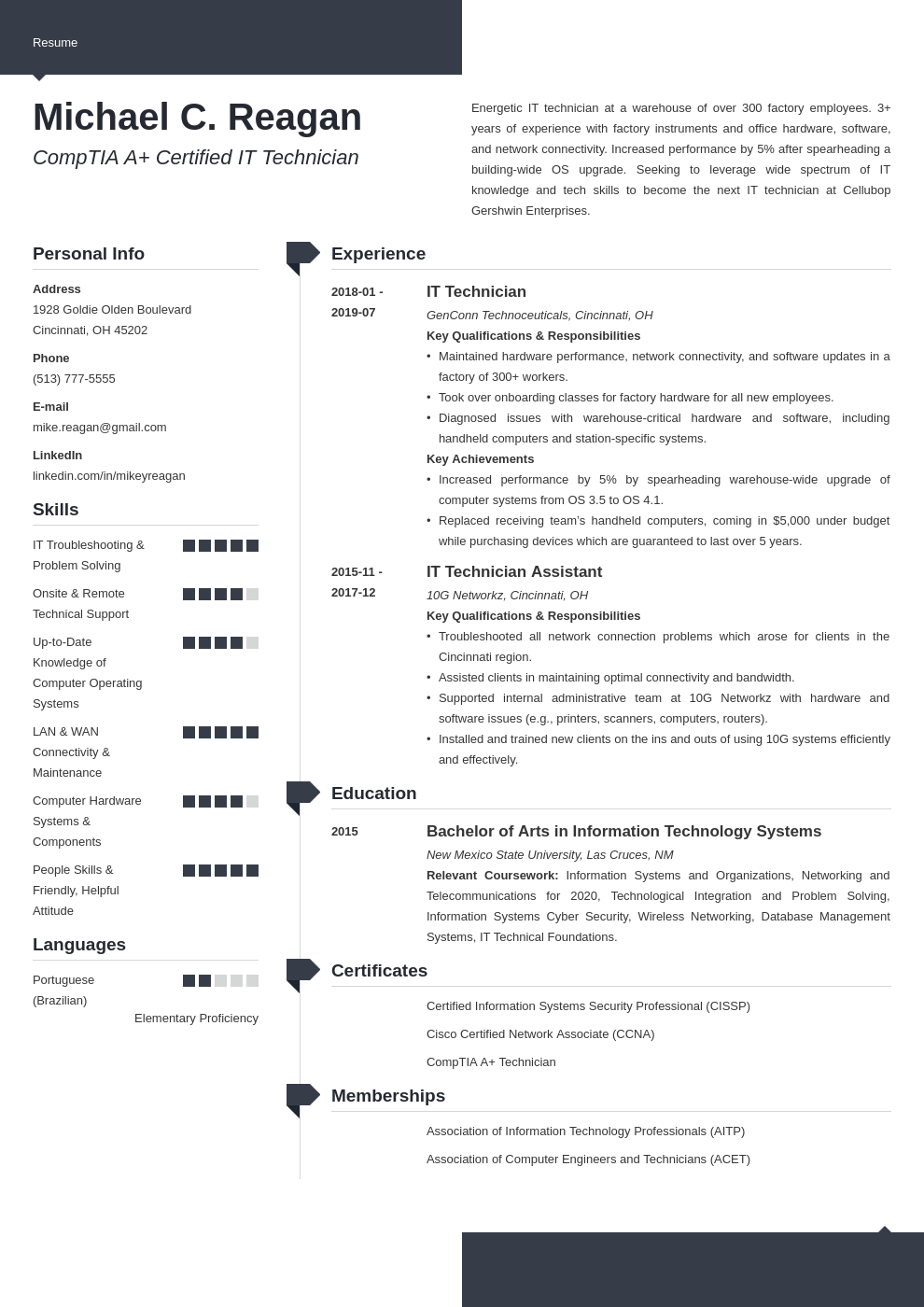 it technician resume example template modern