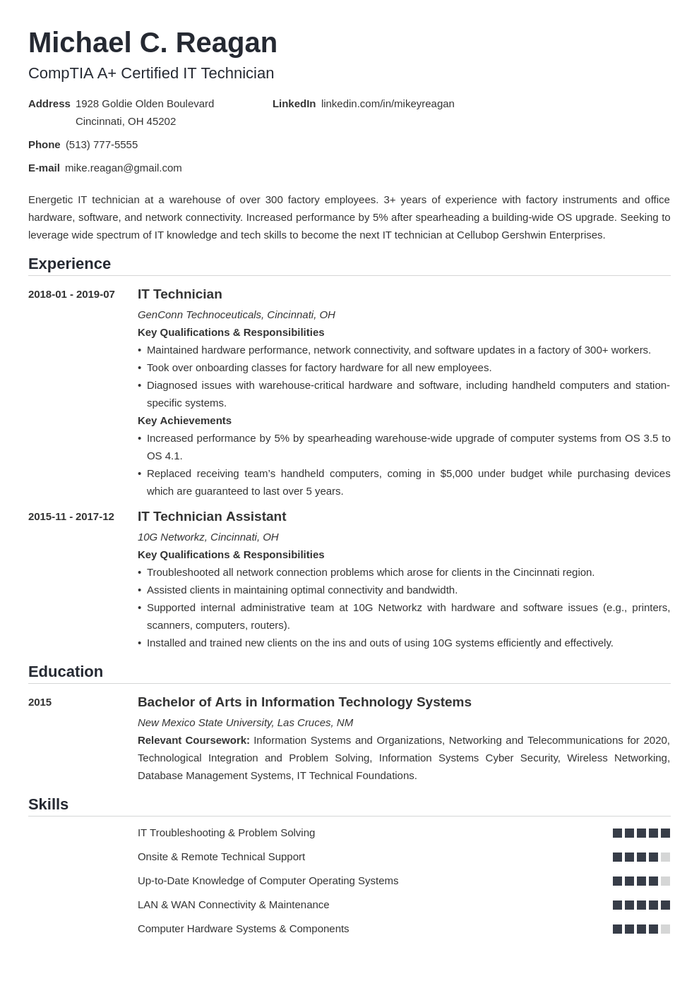 it technician resume example template nanica