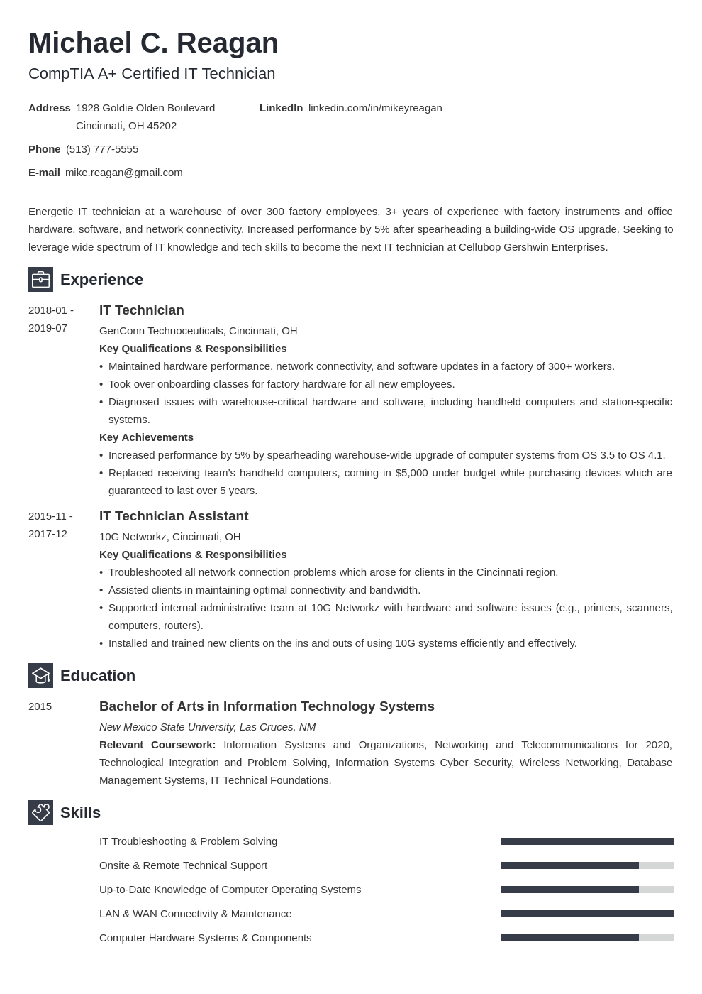 it technician resume example template newcast