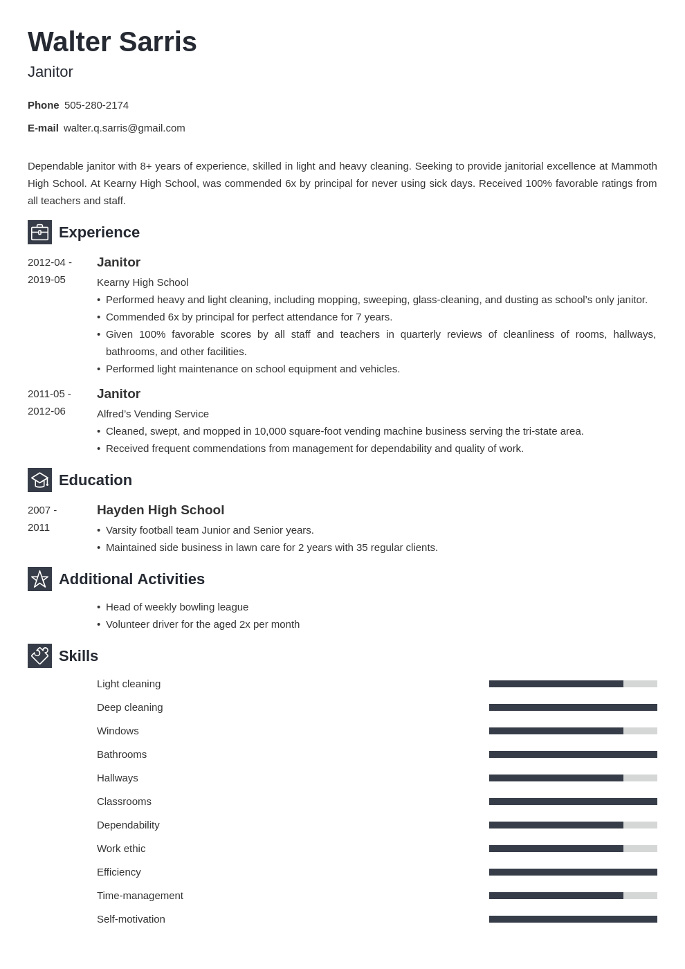 janitor resume example template newcast