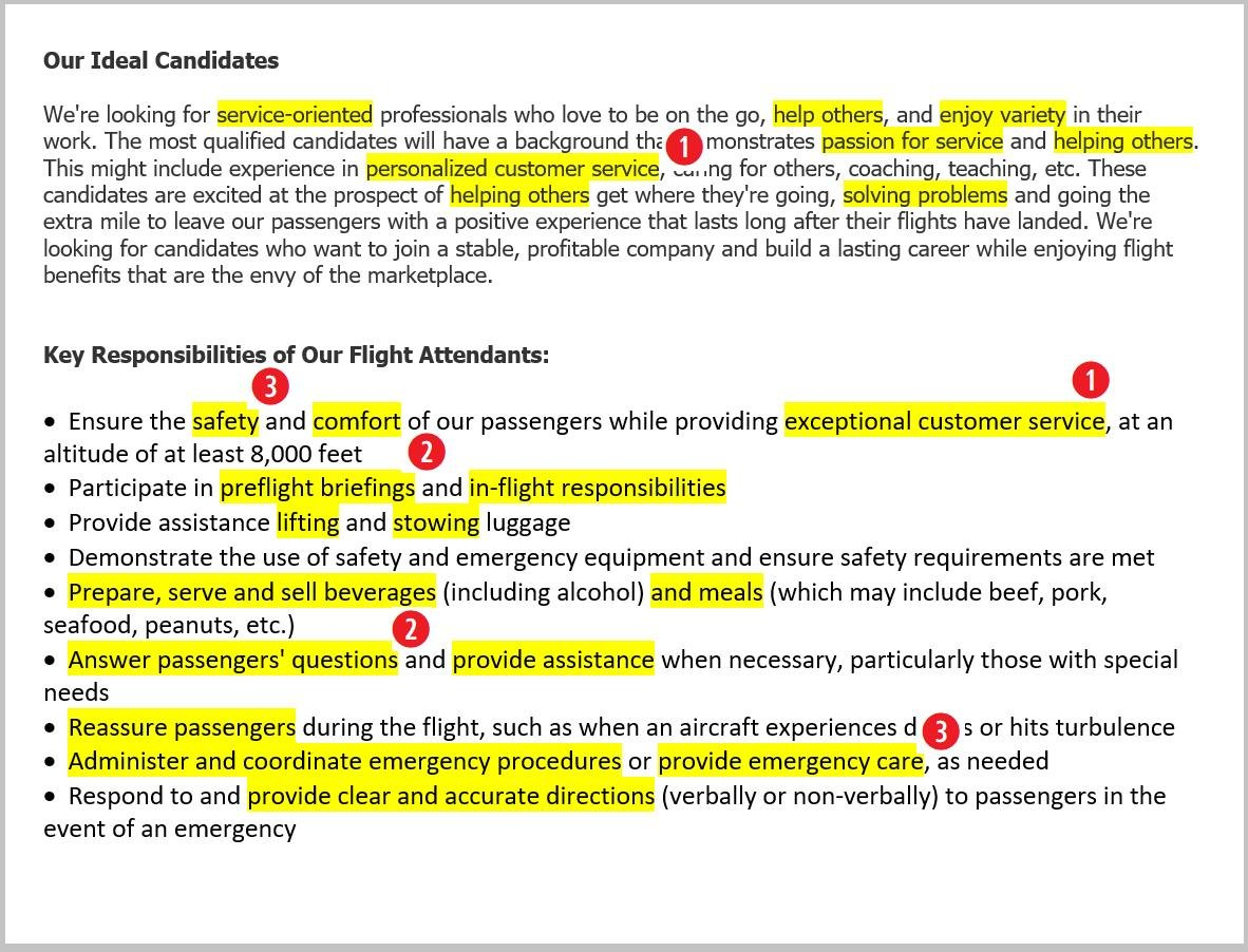 Job Description for Flight Attendant Resume: