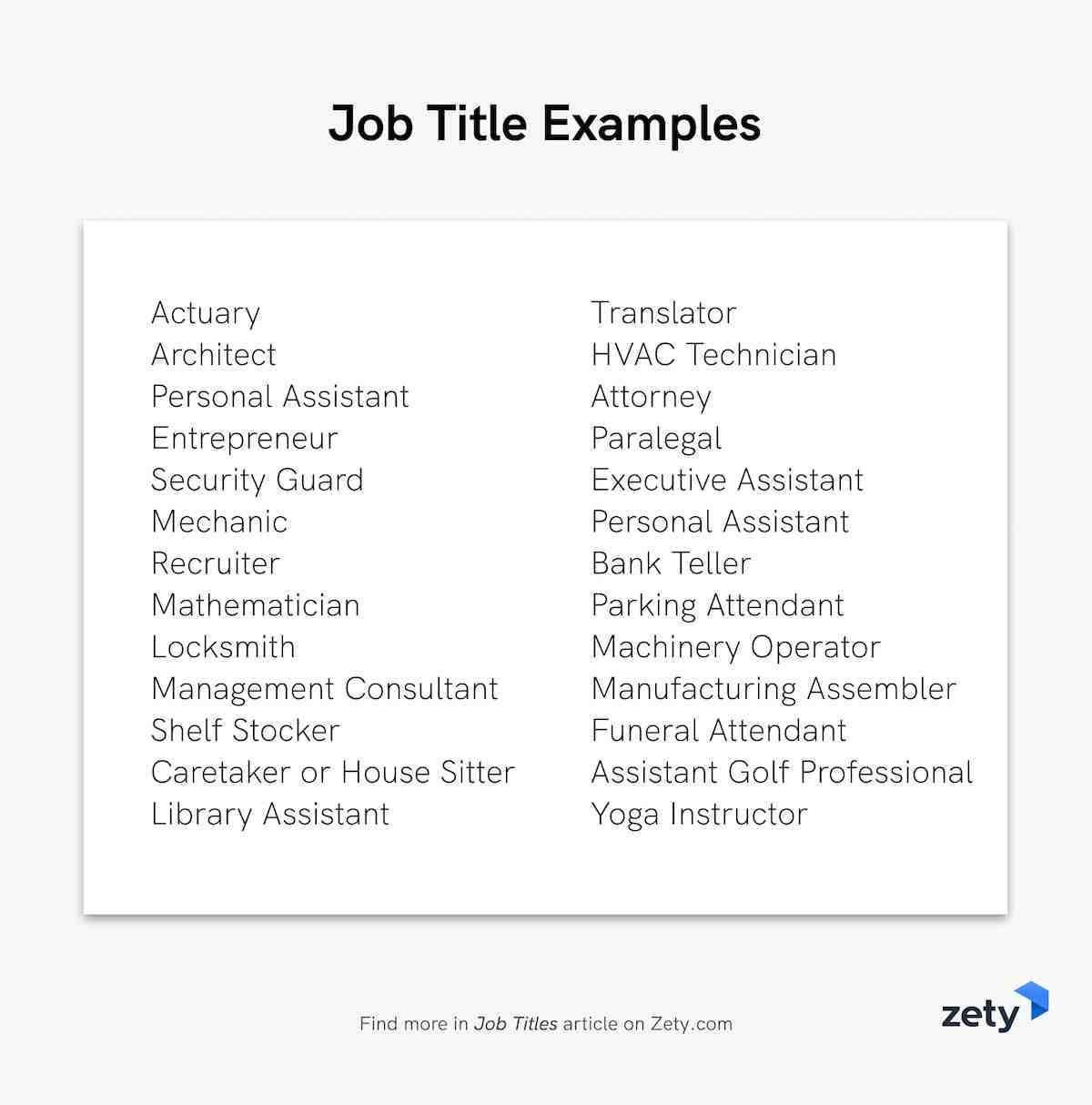 Job Title Examples