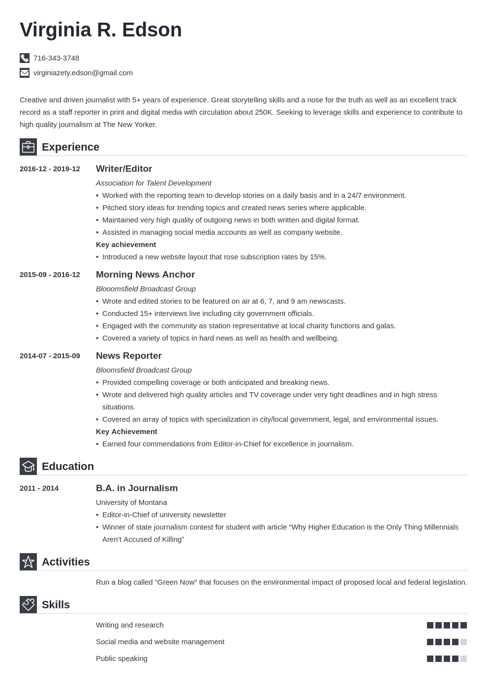 journalism resume example template iconic