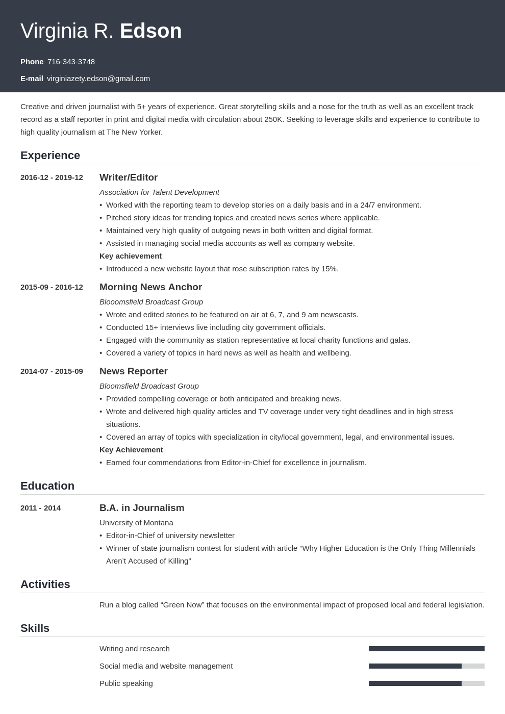 journalism resume example template influx