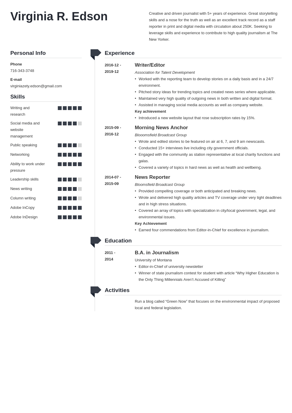 journalism resume example template muse
