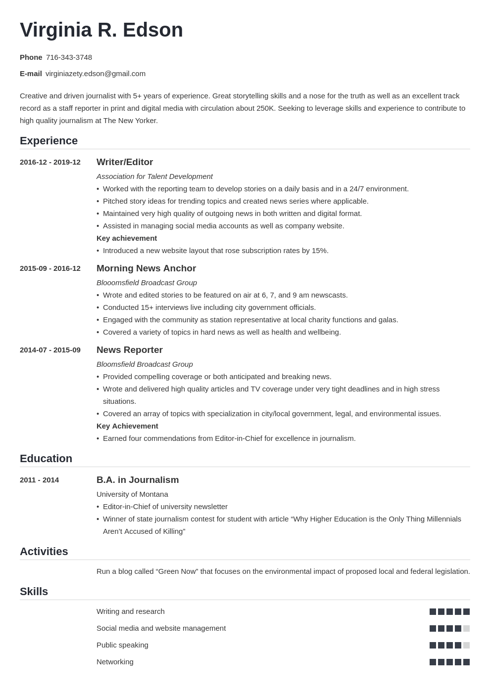 journalism resume example template nanica