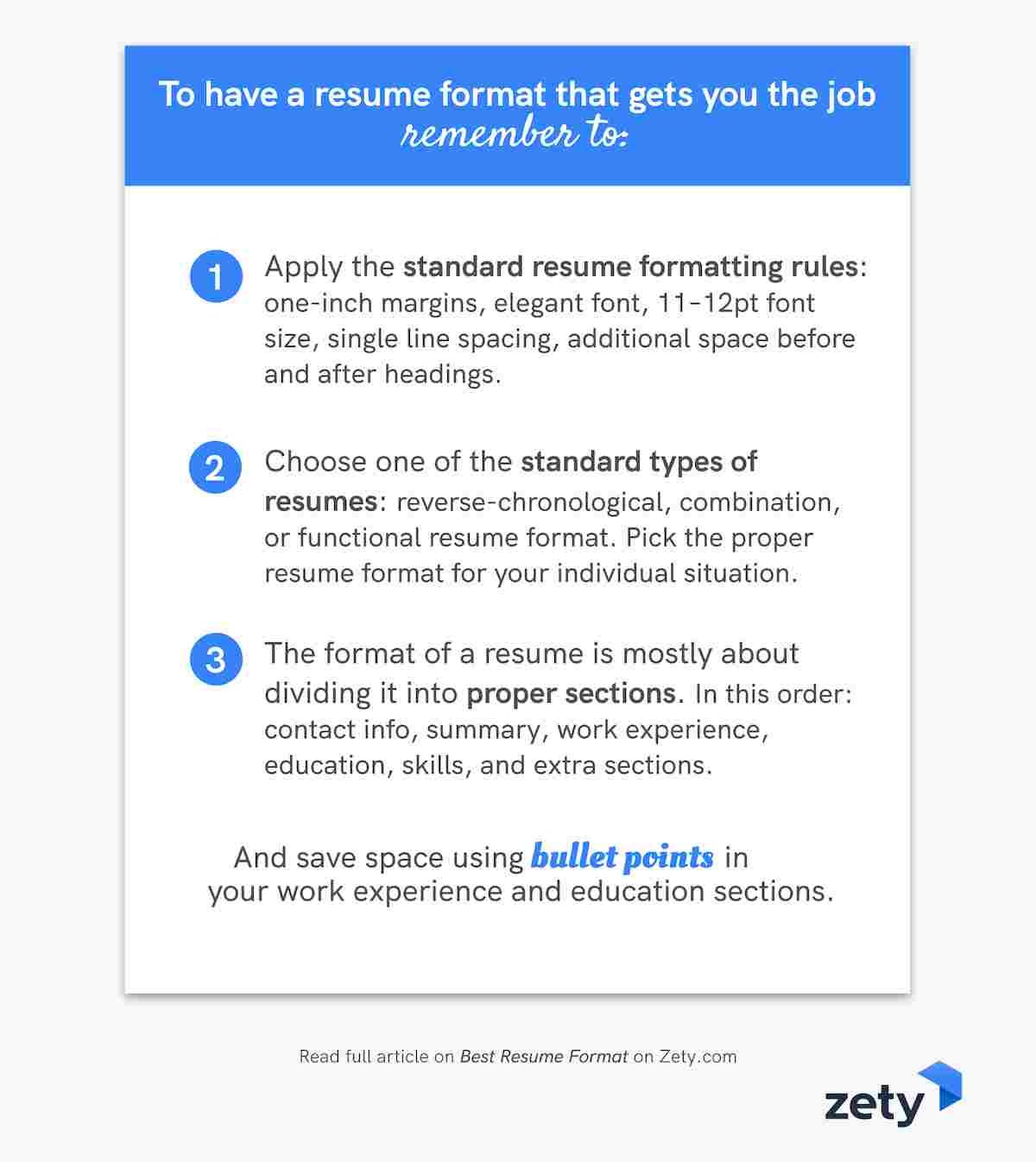 Key strategies for the perfect resume format