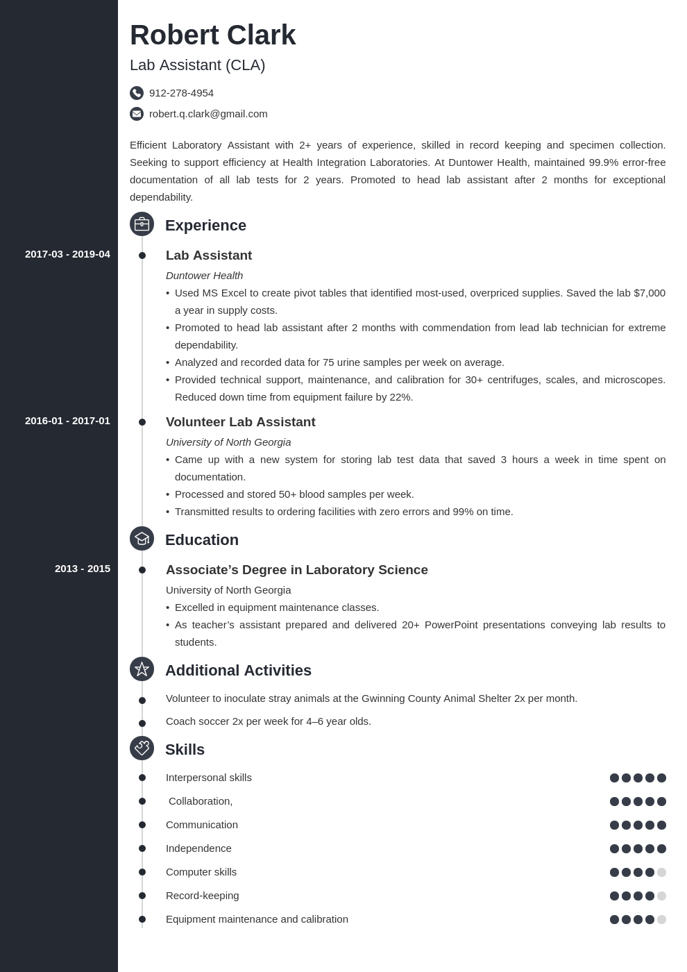 lab assistant resume example template concept