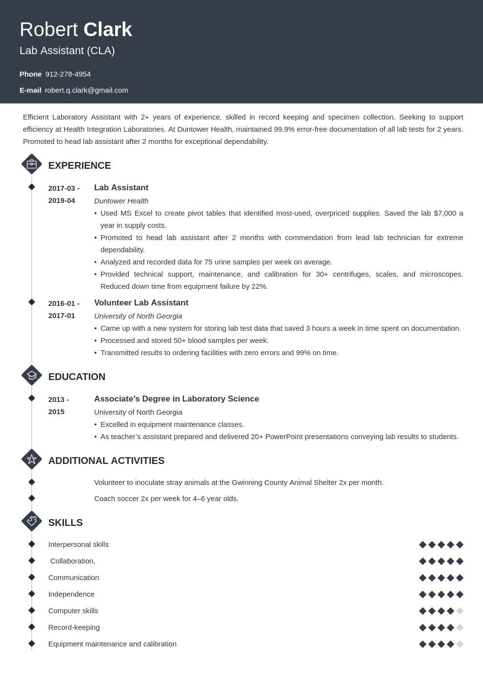 lab assistant resume example template diamond