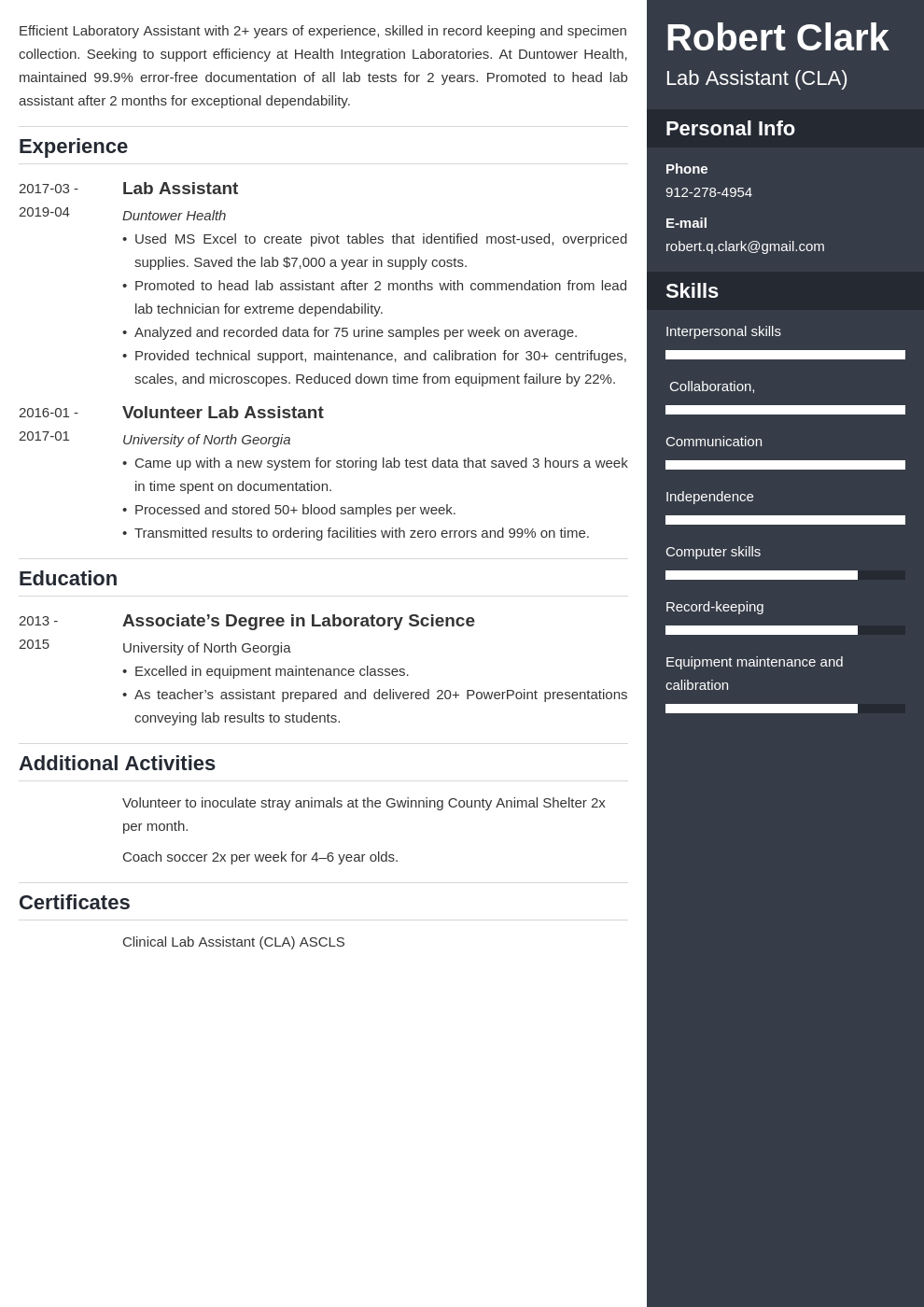 lab assistant resume example template enfold