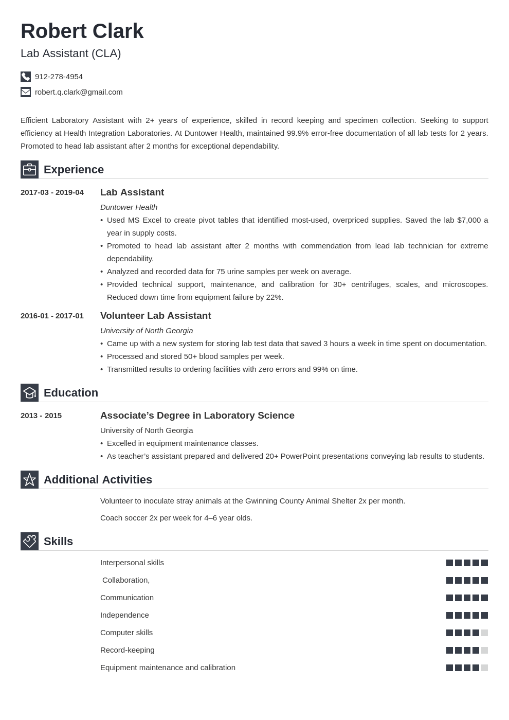 lab assistant resume example template iconic