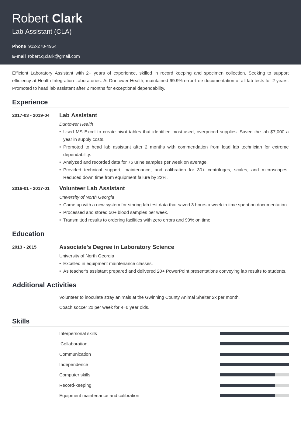 lab assistant resume example template influx