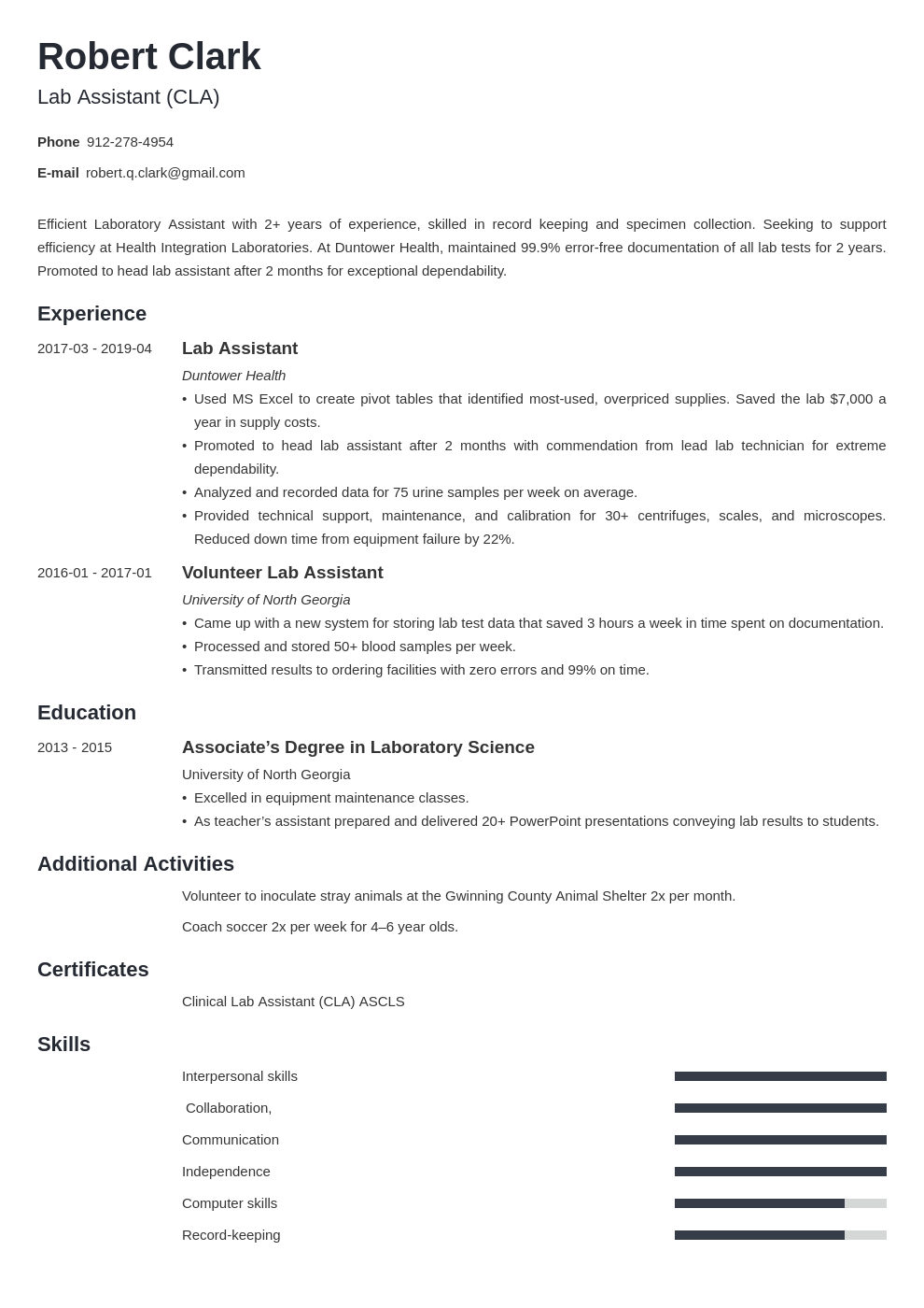 lab assistant resume example template minimo