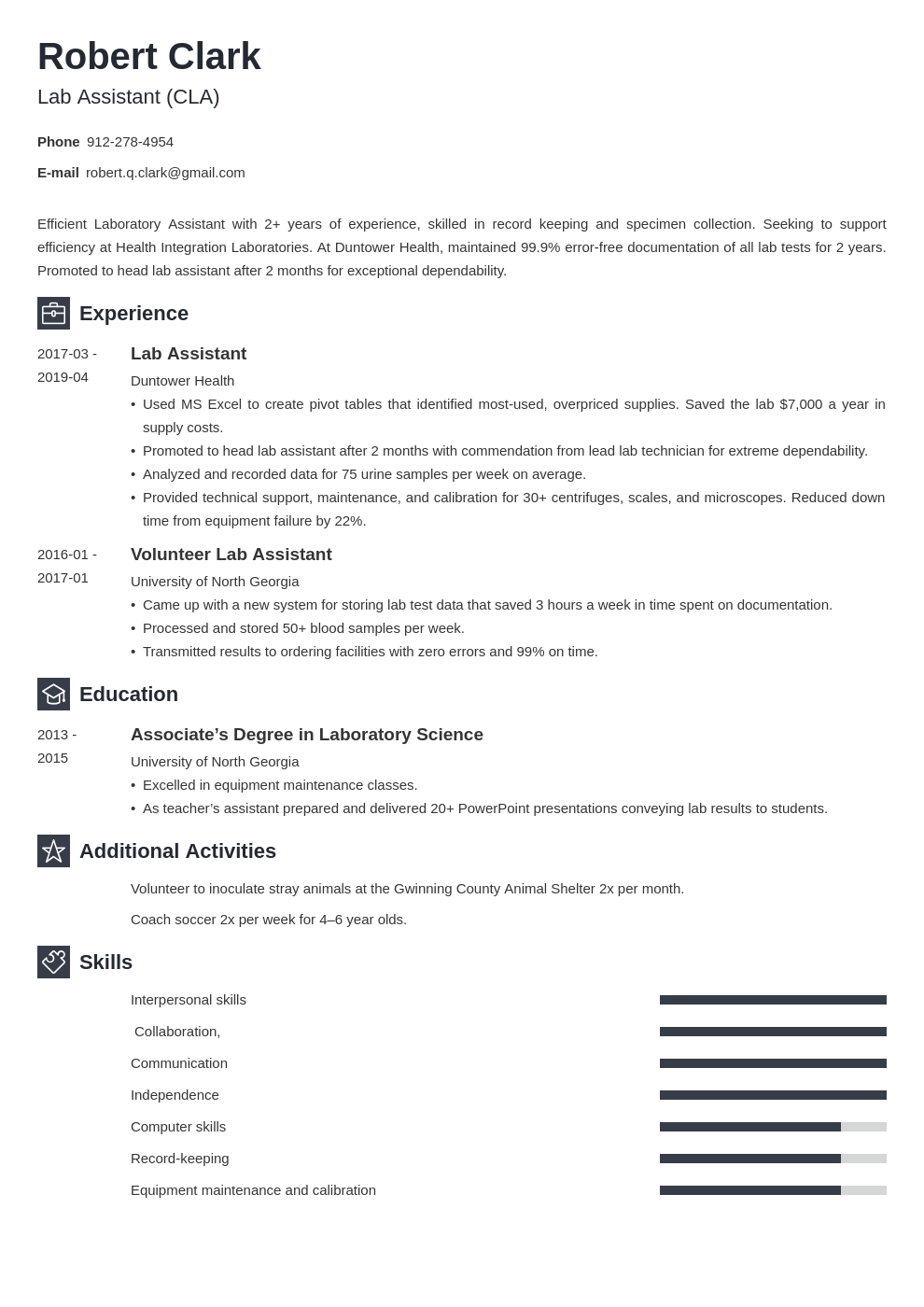 lab assistant resume example template newcast