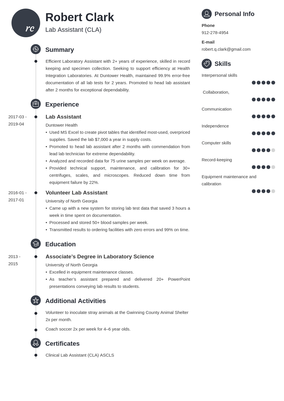 lab assistant resume example template primo