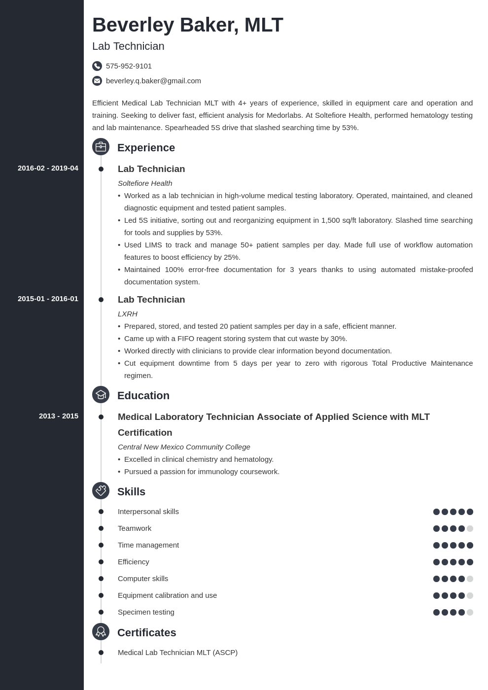 lab technician resume example template concept