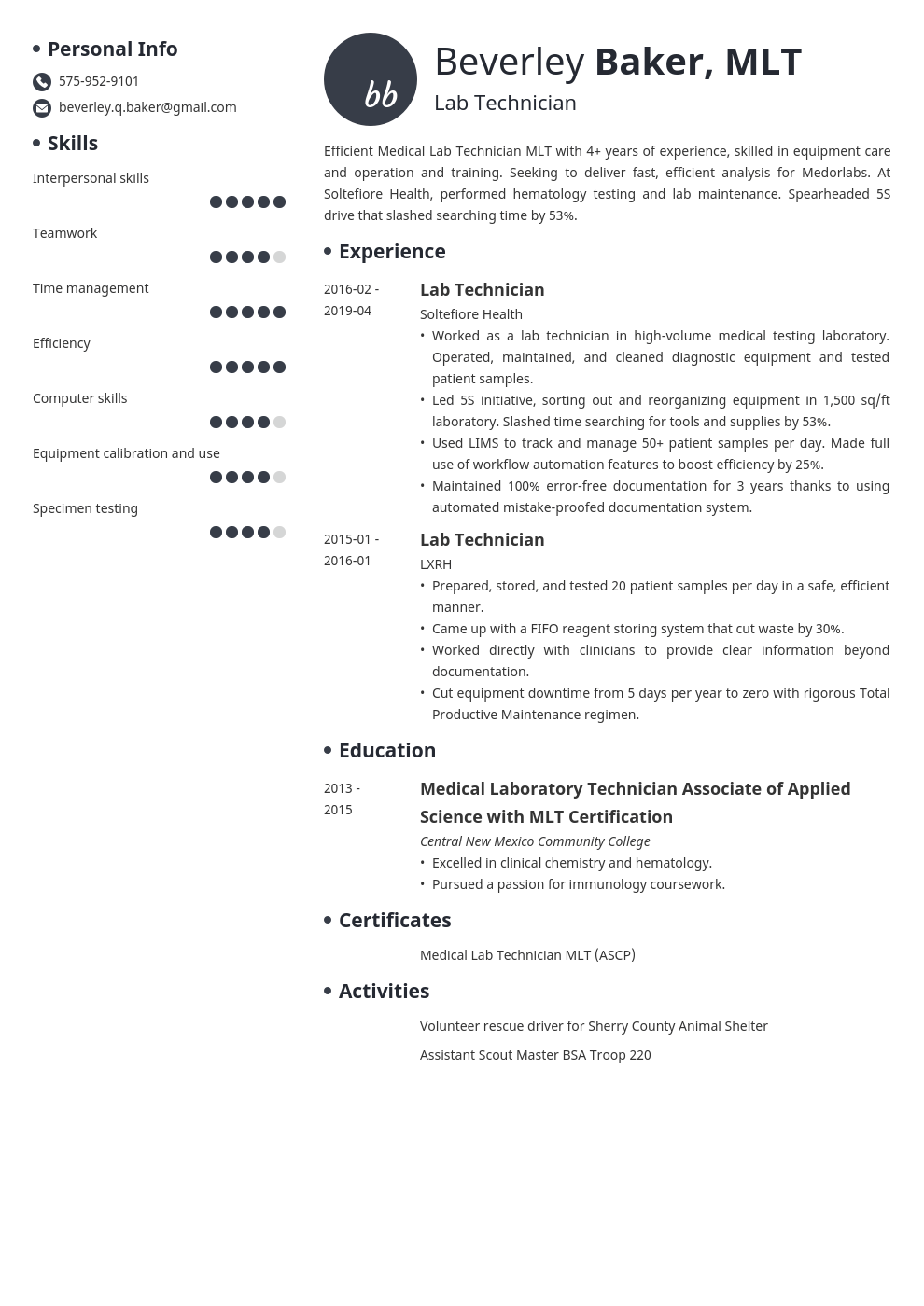 lab technician resume example template initials