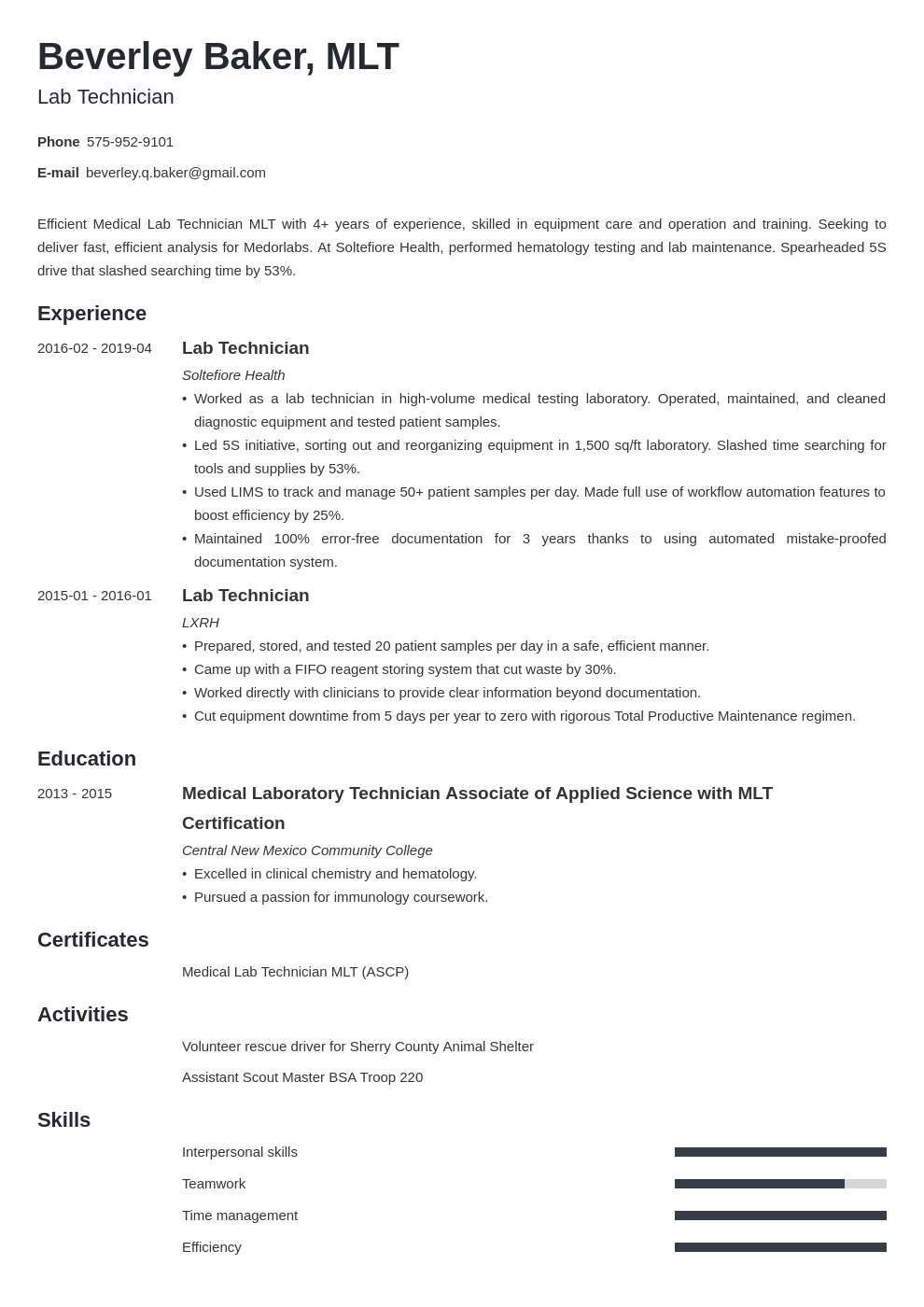 lab technician resume example template minimo